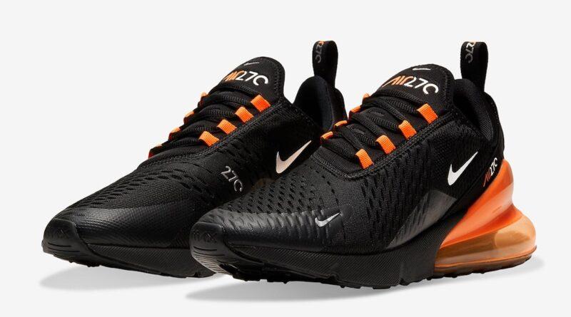 Pánské černé a oranžové tenisky Nike Air Max 270 White Black Silver Orange DC1938-001 nízké sportovní boty