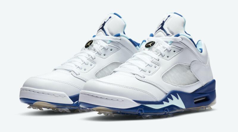 Pánské bílé tenisky Air Jordan 5 Low Golf Grape Ice White/Topaz Mist-Celestial Gold-Deep Royal CW4206-100 golfové boty Jordan