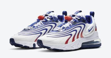 Pánské bílé tenisky Nike Air Max 270 React ENG USA White/Ember Glow/Concord DA1512-100 nízké sportovní boty Nike