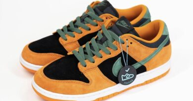 Pánské černé a oranžové tenisky Nike Dunk Low SP Black/Ceramic-Nori DA1469-001 nízké semišové boty a obuv Nike