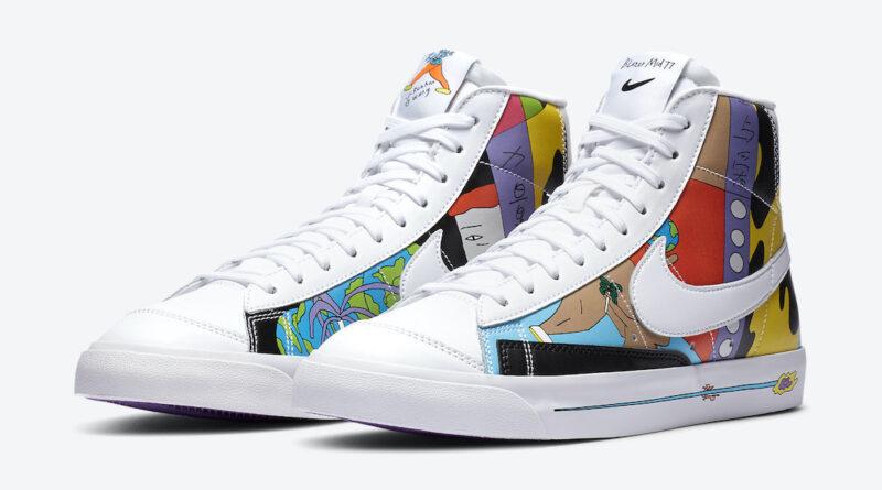 Pánské bílé tenisky Ruohan Wang x Nike Blazer Mid '77 Flyleather White Multi Color CZ3775-900 kožené a kotníkové boty a obuv