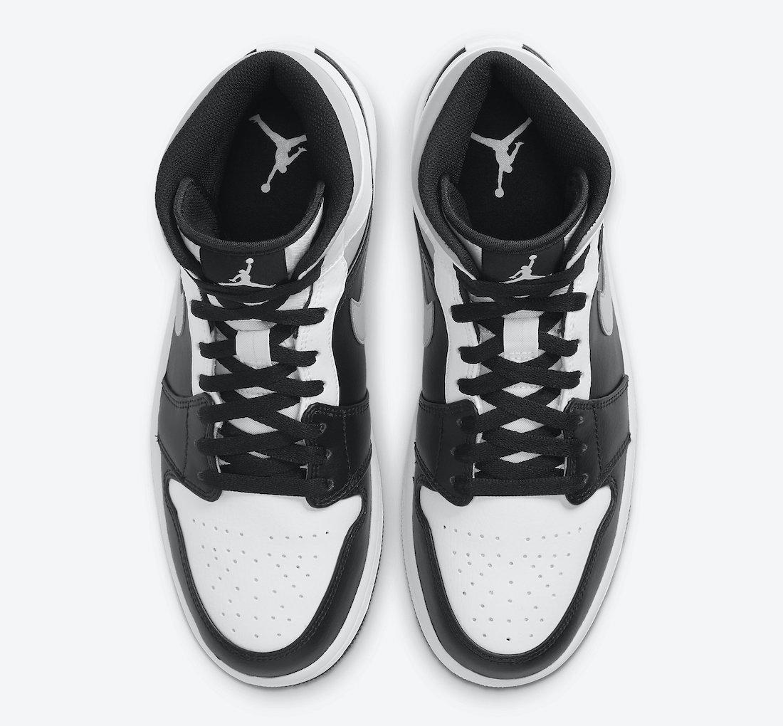 Pánské bílé a černé tenisky Air Jordan 1 Mid White Black Grey Shadow 554724-073 kožené a vysoké kotníkové boty a obuv Jordan