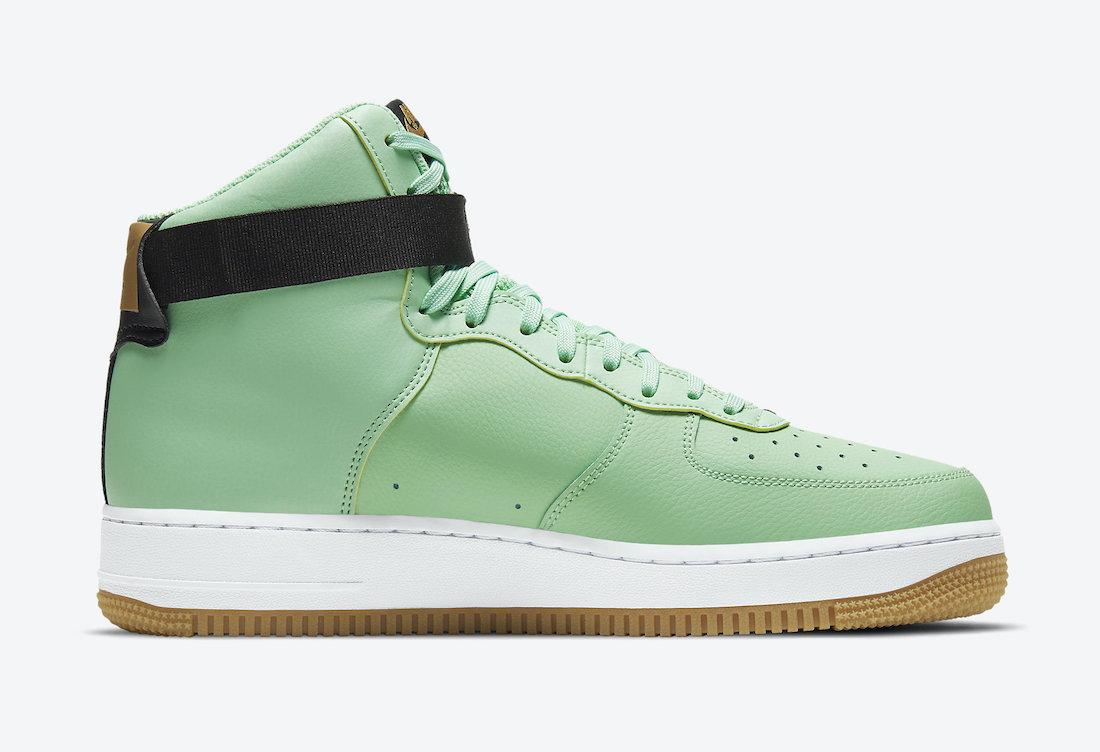 Pánské zelené tenisky Nike Air Force 1 High NBA Pack White Black Green Gold CT2306-100 kožené kotníkové boty a obuv Nike AF1