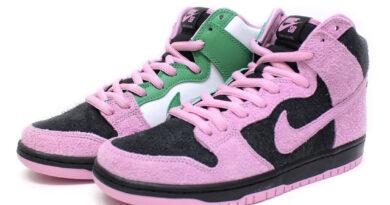 Pánské černé tenisky Nike SB Dunk High Invert Celtics Black/Pink Rise-Lucky Green kožené a semišové kotníkové boty a obuv Nike