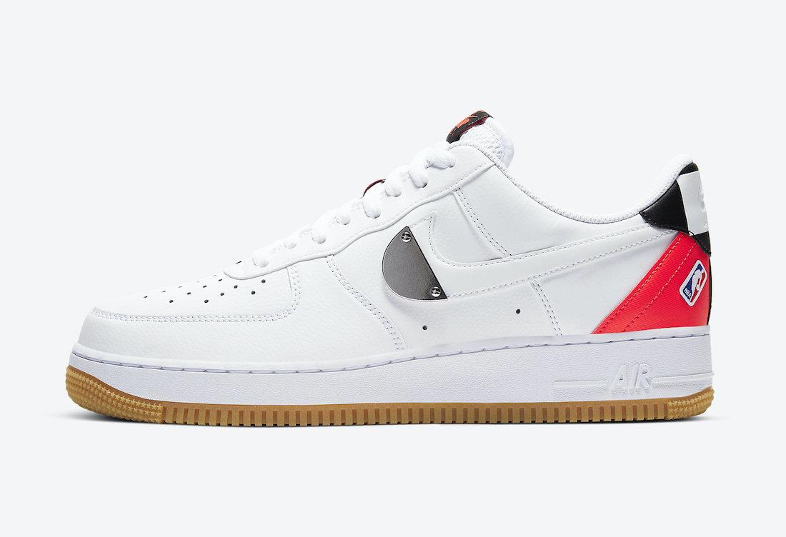 Pánské bílé tenisky Nike Air Force 1 Low NBA Pack White/White-Bright Crimson-Black CT2298-101 kožené nízké boty a obuv Nike AF1
