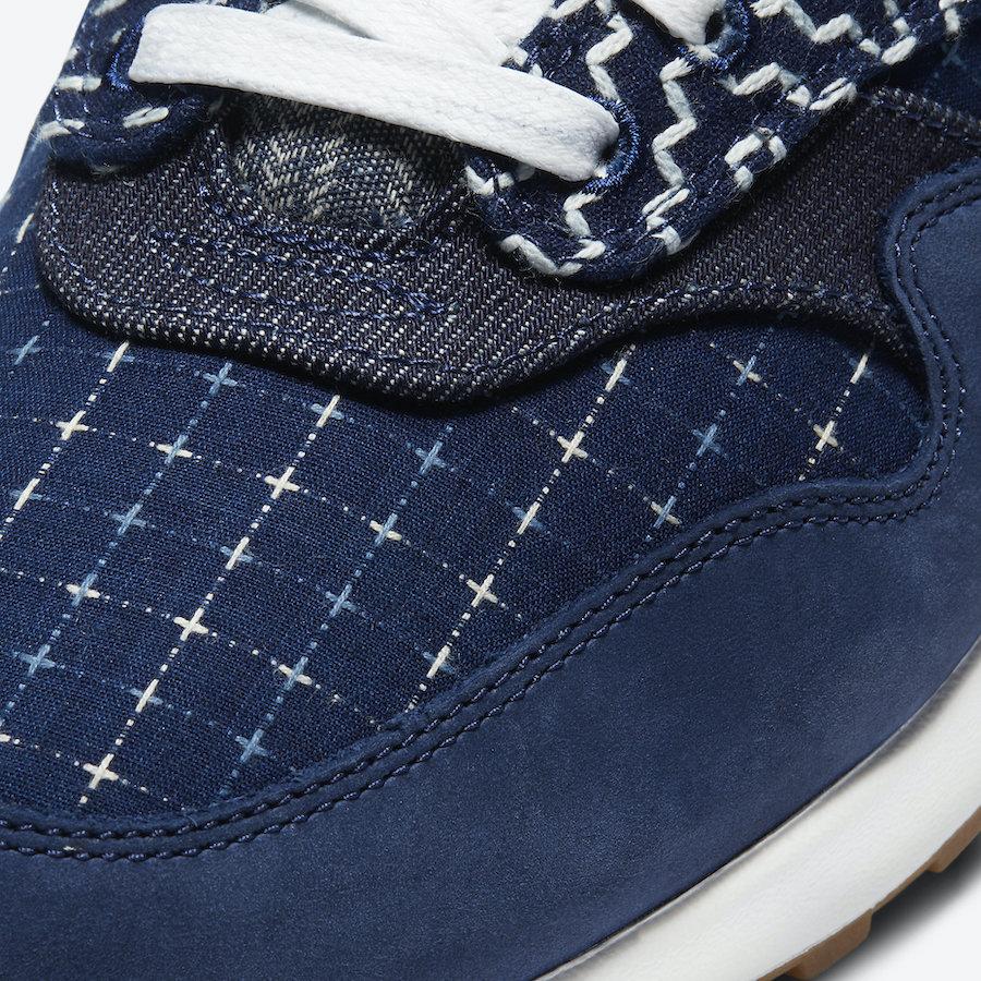 Pánské modré tenisky a boty DENHAM x Nike Air Max 1 Blue Void/Coastal Blue-Vachetta Tan-Sail CW7603-400 nízké botasky a obuv