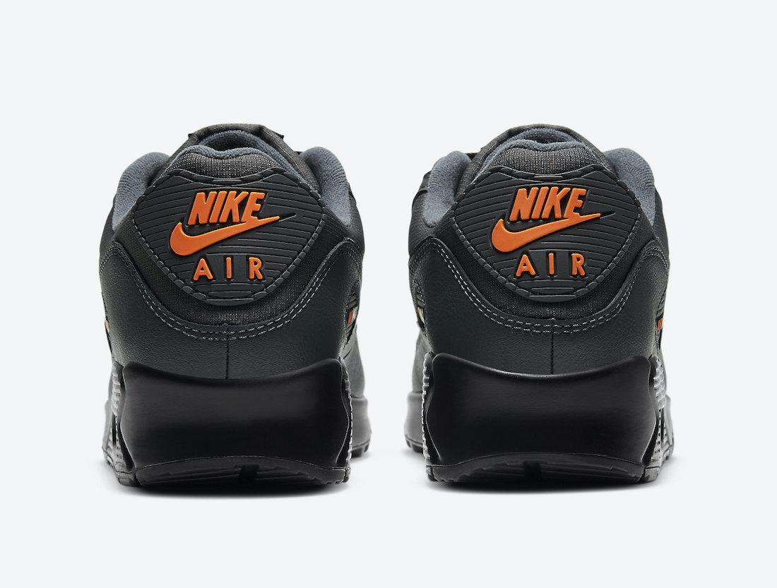 Pánské šedé tenisky a boty Nike Air Max 90 Black Grey Total Orange DC4116-001 nízké sportovní botasky a obuv Nike Air Max