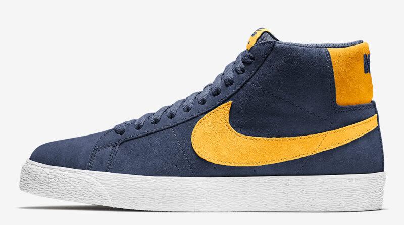 Pánské modré tenisky Nike SB Blazer Mid White/Navy Blue-Yellow 864349-402 semišové a vysoké kotníkové boty a obuv Nike