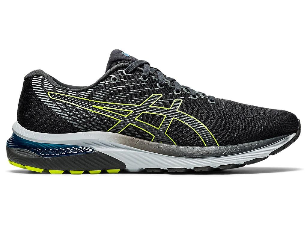 Pánské černé šedé tenisky a boty Asics Gel-Cumulus 22 (2E) Graphite Grey/Lime Zest 1011A860-020 nízké běžecké botasky a obuv Asics