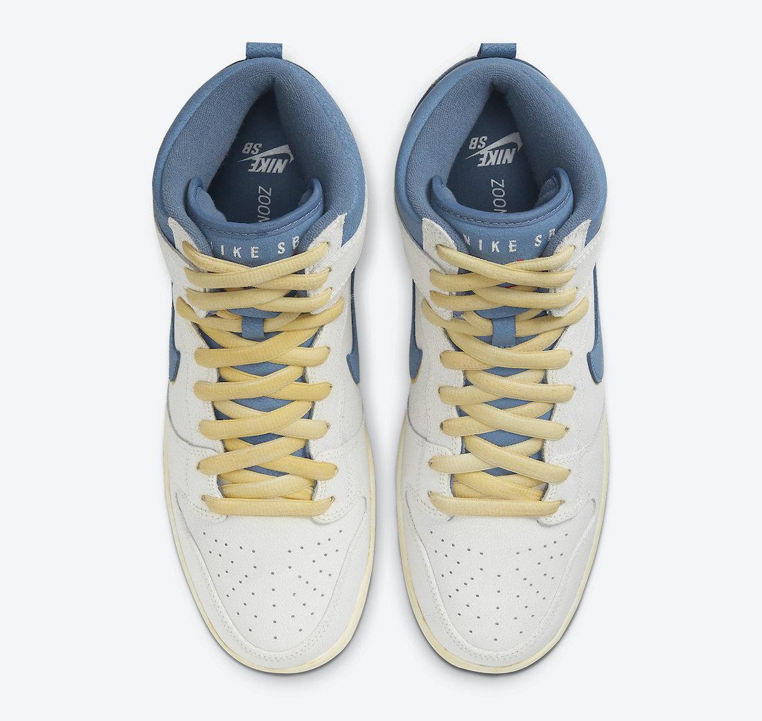 Pánské šedé tenisky Atlas x Nike SB Dunk High Sail/Track Red-White-Ocean Fog CZ3334-100 semišové a vysoké kotníkové boty a obuv