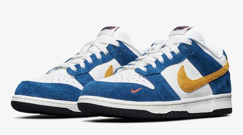 Pánské bílé modré tenisky Kasina x Nike Dunk Low Sail/University Gold-Industrial Blue CZ6501-100 kožené a semišové boty