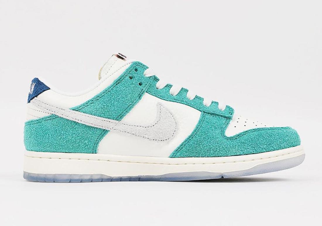 Pánské bílé zelené tenisky Kasina x Nike Dunk Low Sail/White-Neptune Green-Industrial Blue CZ6501-101 kožené a semišové boty