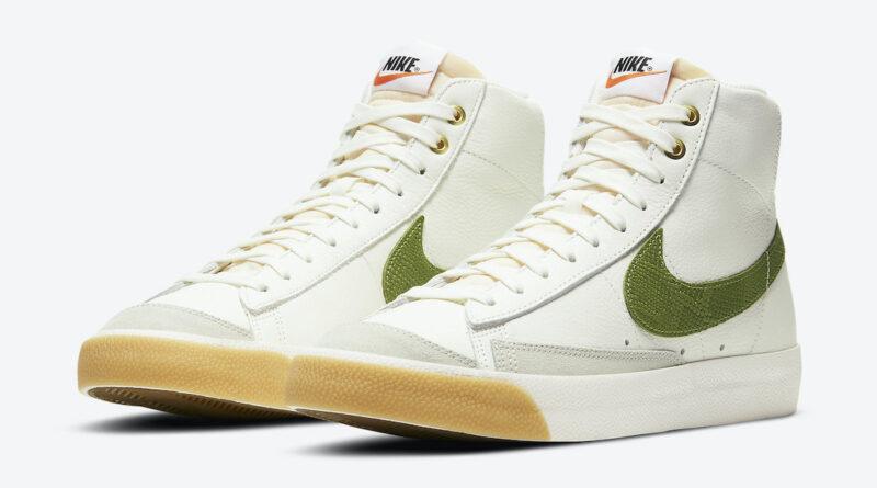 Pánské bílé tenisky Nike Blazer Mid '77 White/Grey/Gold-Green DC1706-100 kožené a vysoké kotníkové boty a obuv Nike