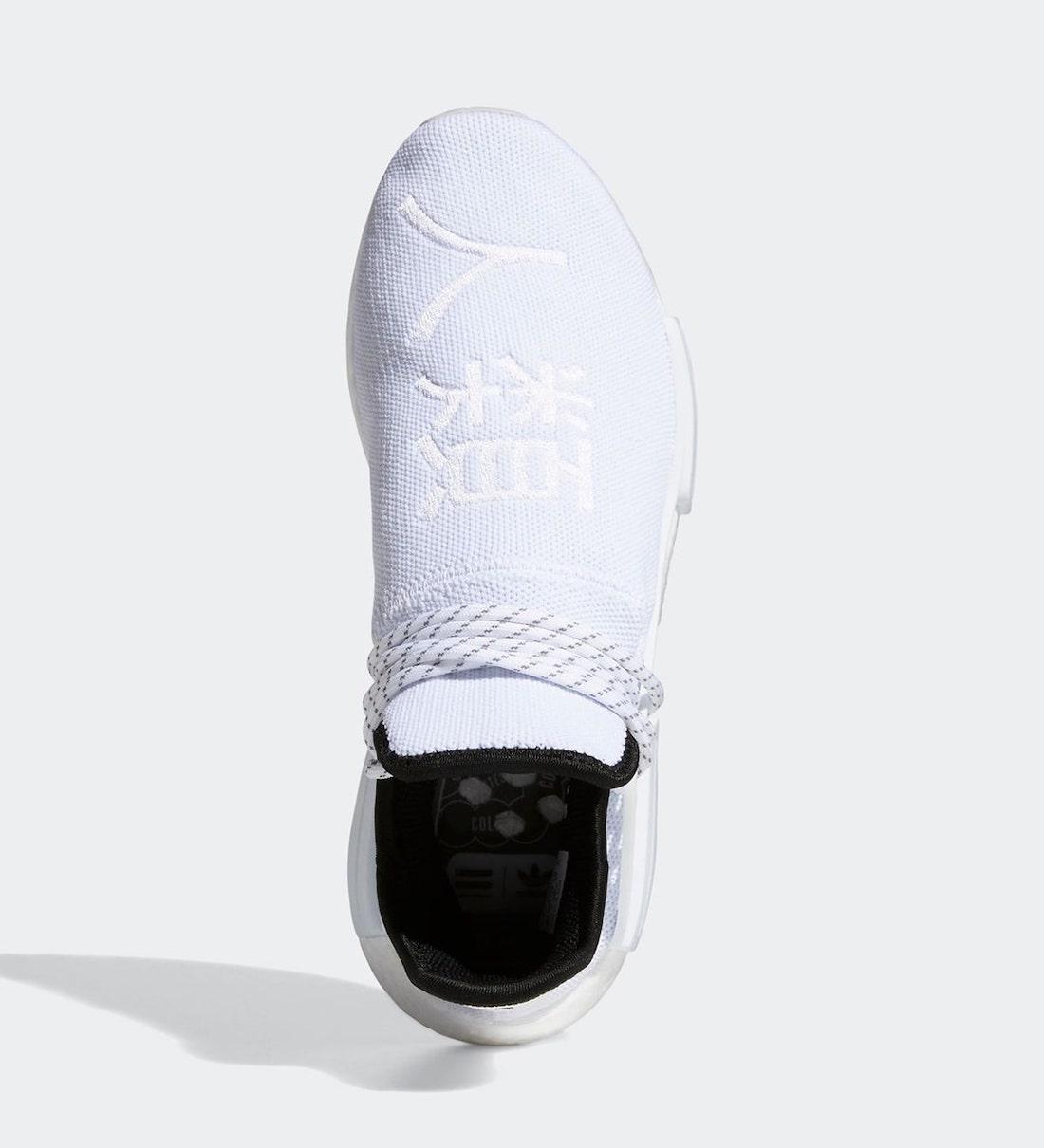 Pánské bílé tenisky a boty Pharrell x adidas NMD Hu White/Black/White GY0092 nízké sportovní botasky a obuv adidas