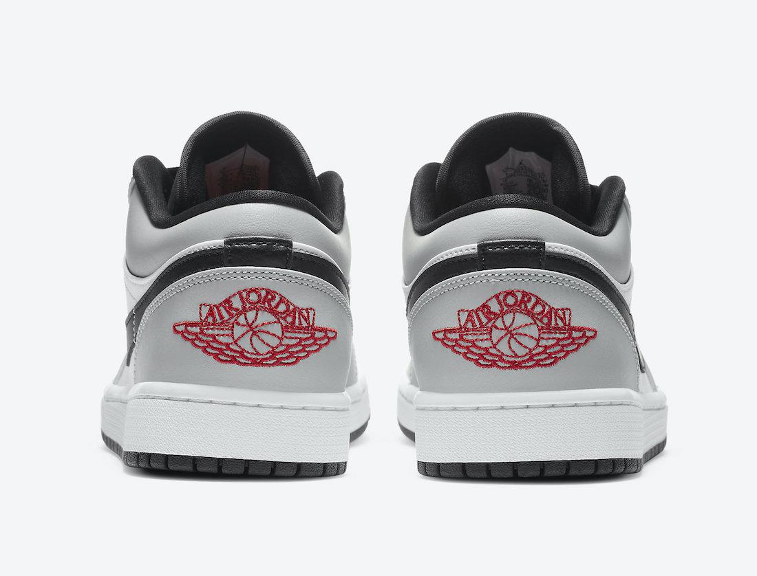 Pánské bílé šedé tenisky Air Jordan 1 Low Light Smoke Grey/Gym Red-White 553558-030 kožené nízké boty a obuv Jordan