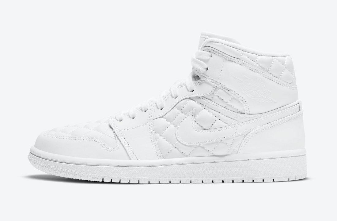 Pánské bílé tenisky Air Jordan 1 Mid SE White Quilted White/White-Black DB6078-100 kožené a vysoké kotníkové boty a obuv Nike