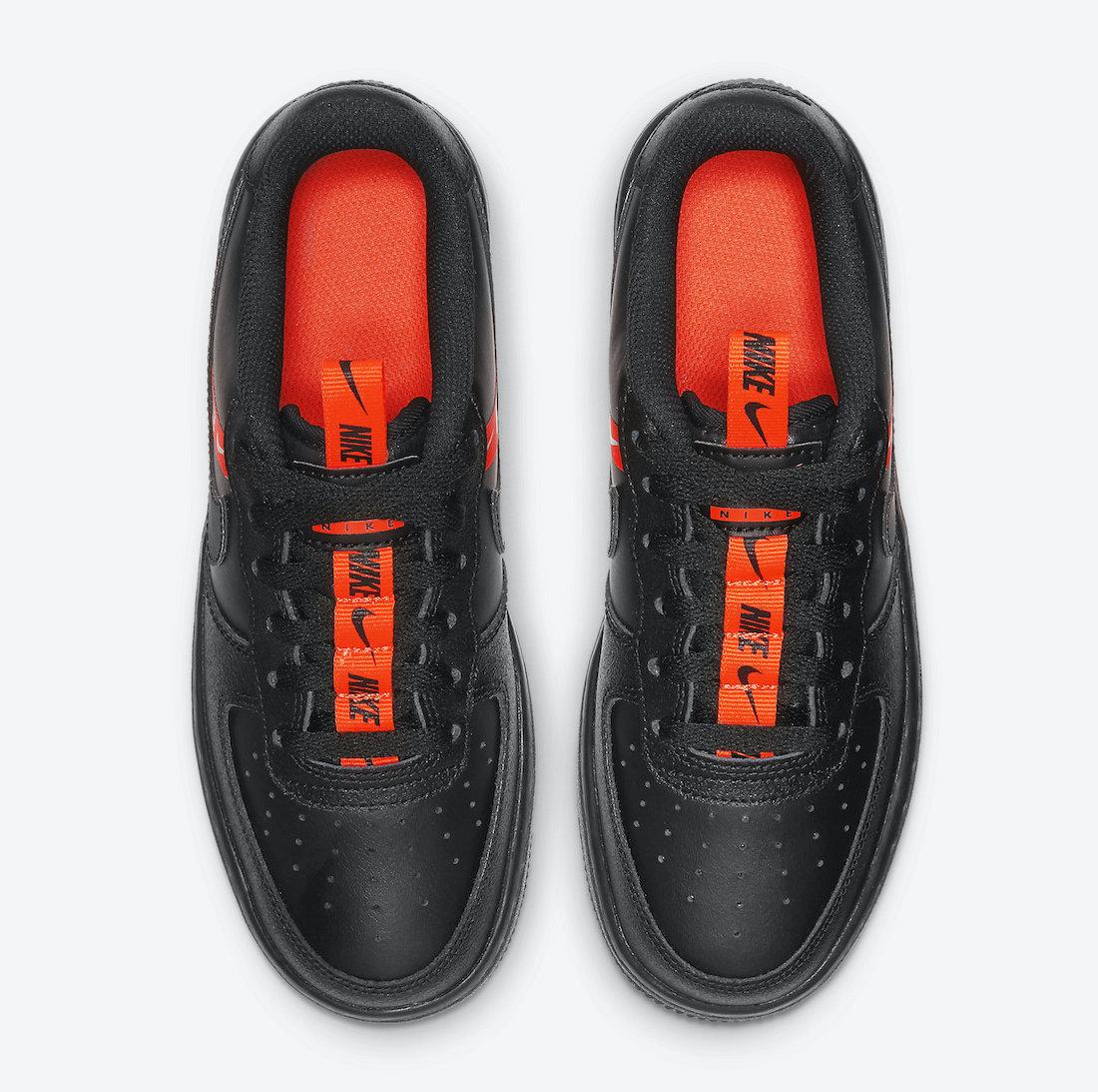 Dětské černé tenisky Nike Air Force 1 GS Low Black/Total Orange/Black CT4683-001 kožené nízké boty a obuv Nike AF1