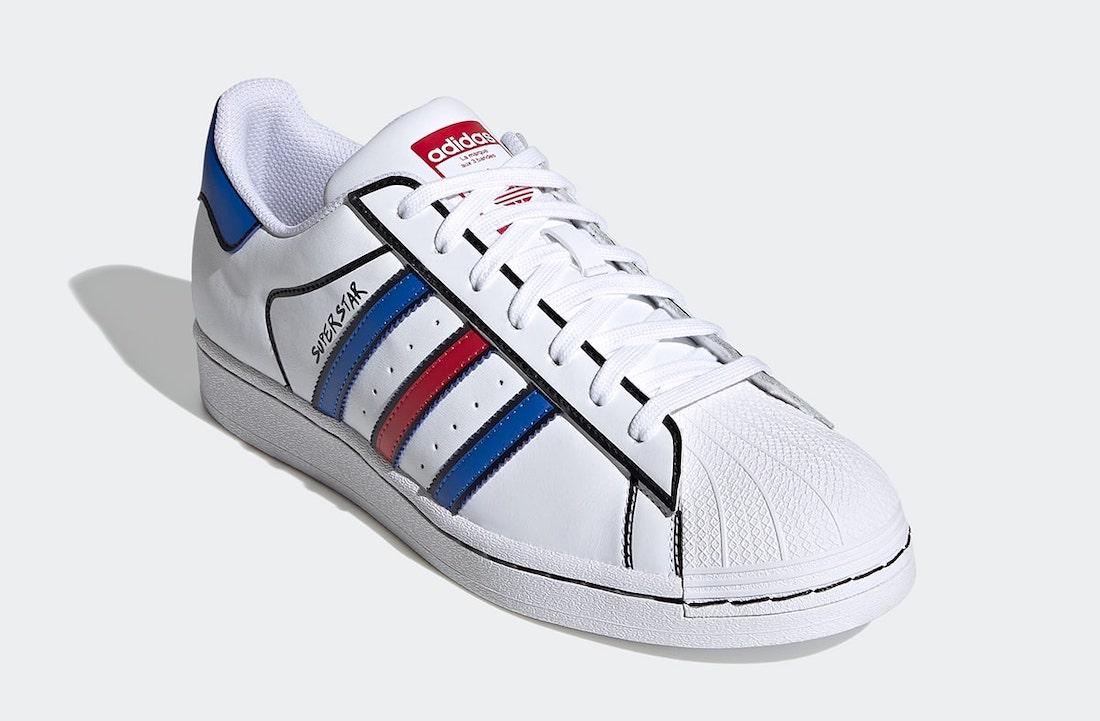 Pánské bílé tenisky a boty adidas Superstar Sharpie Cloud White/Blue-Core Black FY3116 kožené nízké botasky a obuv adidas
