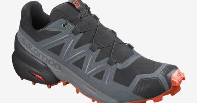 Pánské černé šedé tenisky a boty Salomon Speedcross 5 Black/Stormy Weather/Red Orange 411166 běžecké botasky a obuv Salomon