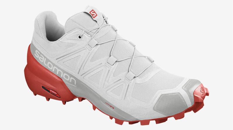 Pánské bílé tenisky a boty Salomon Speedcross 5 White/White/Cherry Tomato 409684 nízké běžecké botasky a obuv Salomon
