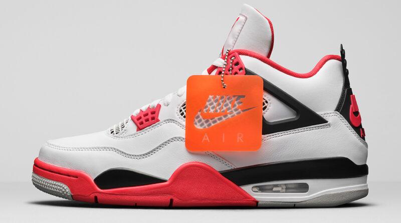 Pánské bílé tenisky a boty Air Jordan 4 Retro White/Fire Red-Black-Tech Grey DC7770-160 nízké kožené botasky a obuv Jordan