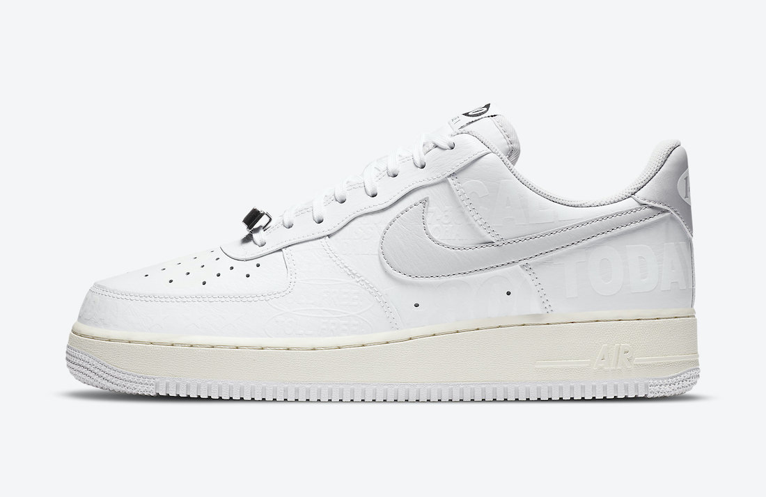 Pánské bílé tenisky a boty Nike Air Force 1 07 Premium Toll Free White/Vast Grey-Sail-Black CJ1631-100 nízké botasky a obuv AF1