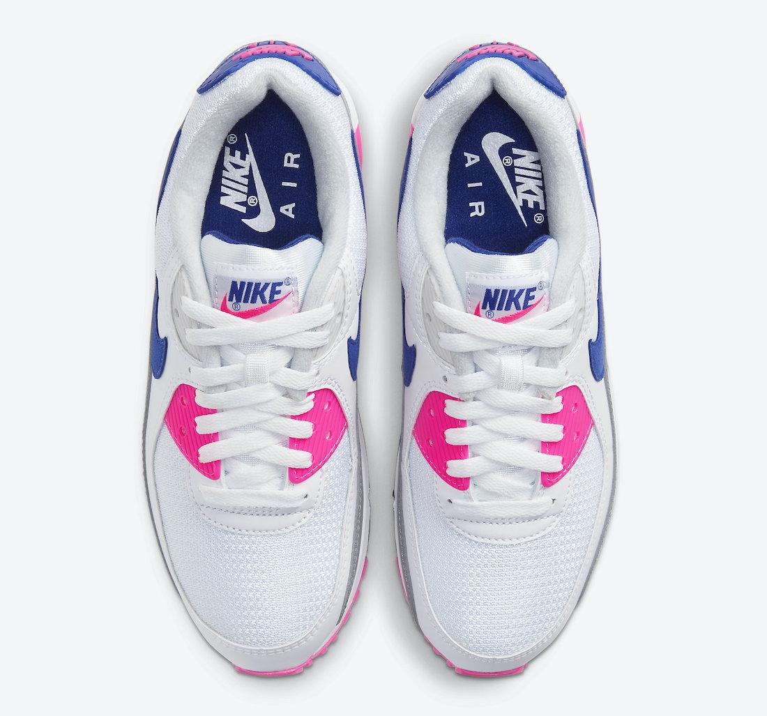 Dámské bílé tenisky a boty Nike Air Max 90 WMNS White/Vast Grey-Concord-Pink Blast CT1887-100 nízké sportovní botasky a obuv Nike