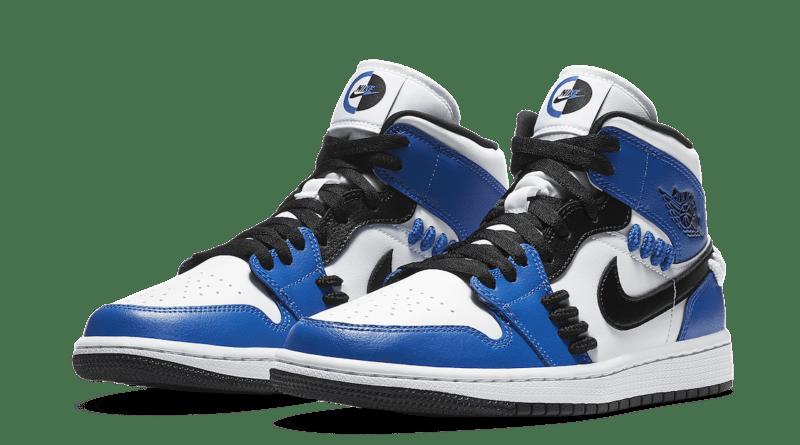 Pánské bílé a modré tenisky Air Jordan 1 Mid SE Game Royal/Black-White CV0152-401 kožené a vysoké kotníkové boty a obuv Jordan