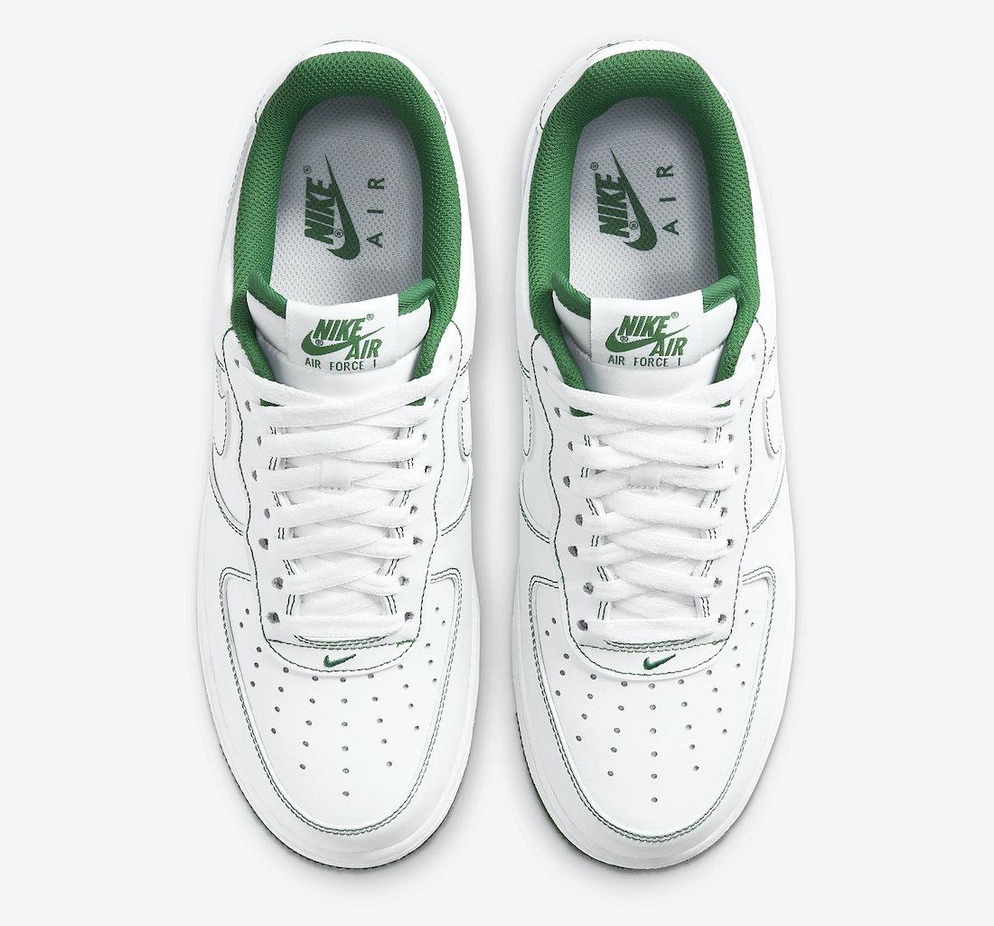 Pánské bílé tenisky Nike Air Force 1 Low White/White-Pine Green CV1724-103 kožené nízké boty a obuv Nike AF1