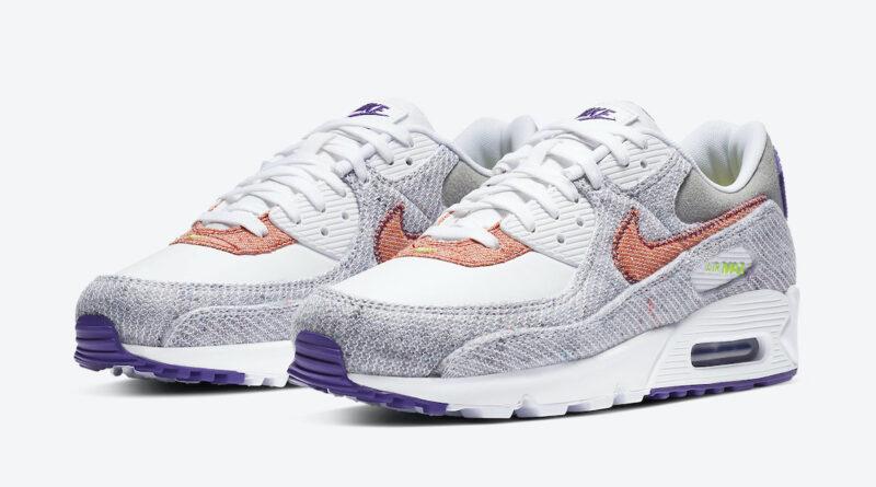 Pánské bílé tenisky a boty Nike Air Max 90 NRG White/Electric Green-Court Purple CT1684-100 nízké sportovní botasky a obuv Nike