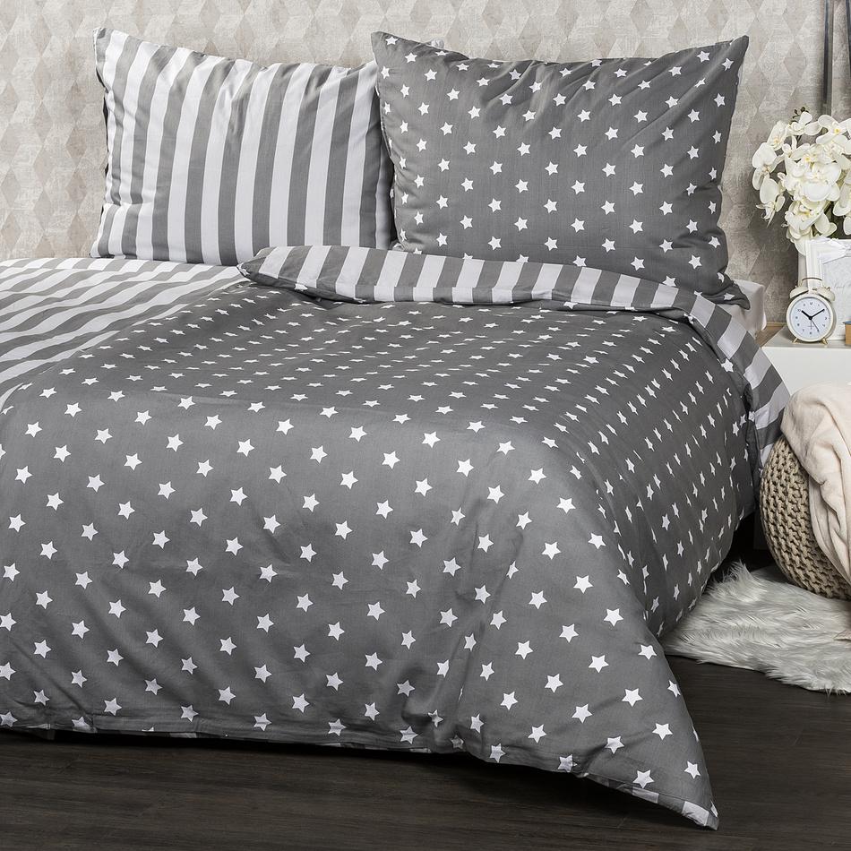 Bavlněné povlečení Stars šedá, 140 x 200 cm, 70 x 90 cm