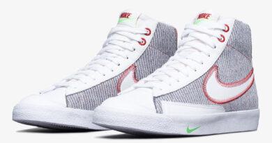 Pánské bílé šedé tenisky Nike Blazer Mid 77 Grey/White/Sport Red-Electric Green CW5838-022 vysoké kotníkové boty a obuv Nike
