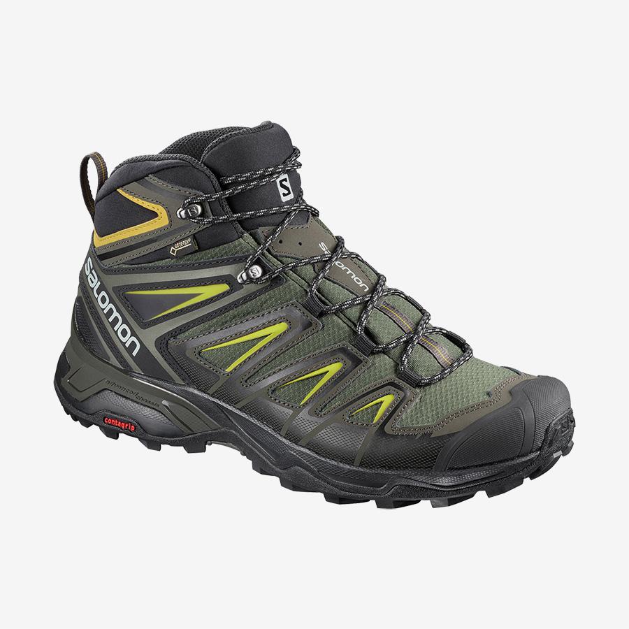 Pánské zelené tenisky Salomon X Ultra 3 Mid GTX Castor Gray/Black/Green Sulphur 401337 kotníkové turistické boty a obuv Salomon