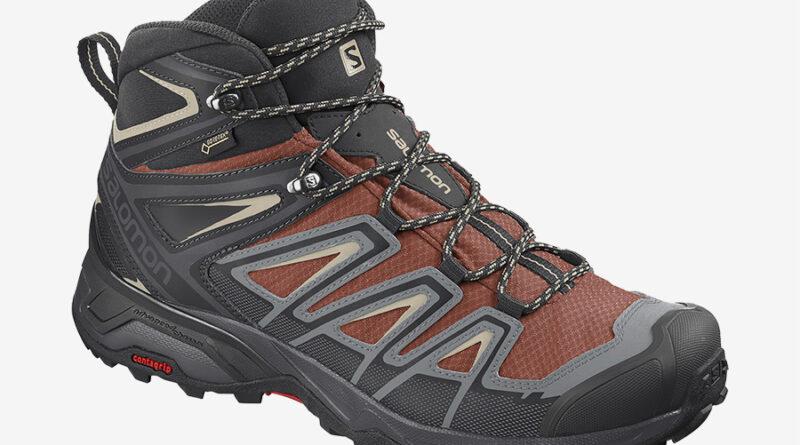 Pánské červené tenisky Salomon X Ultra 3 Mid GTX Burnt Brick/Black/Bleached Sand 409905 kotníkové turistické boty a obuv Salomon