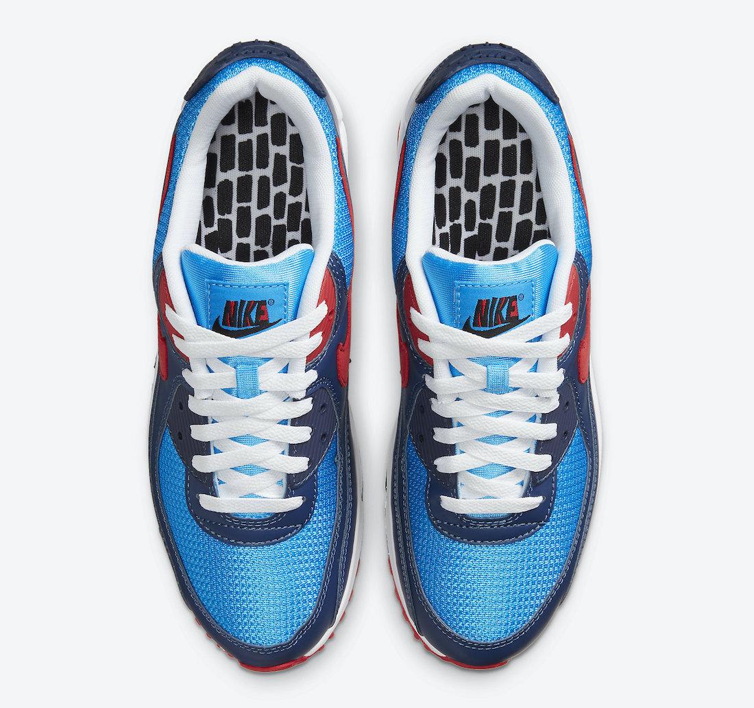 Pánské modré tenisky a boty Nike Air Max 90 Photo Blue/University Red CT1687-400 nízké sportovní botasky a obuv Nike