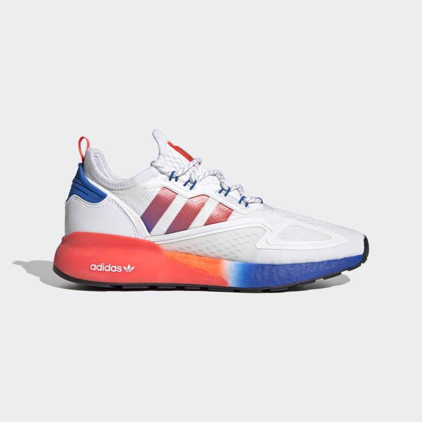 Pánské bílé tenisky a boty adidas ZX 2K Boost Cloud White/Solar Red/Blue FV9996 běžecké botasky a obuv adidas