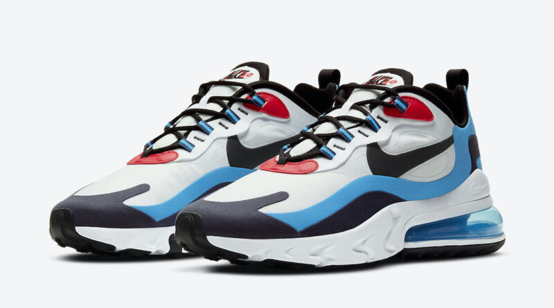 Pánské bílé tenisky a boty Nike Air Max 270 React White/Photo Blue-University Red DA2400-100 sportovní botasky a obuv Nike
