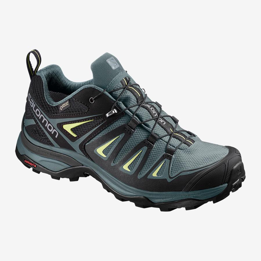 Dámské modré černé tenisky Salomon X Ultra 3 GTX W Artic/Darkest Spruce/Sunny Lime 400065 turistické outdoorové boty a obuv Salomon