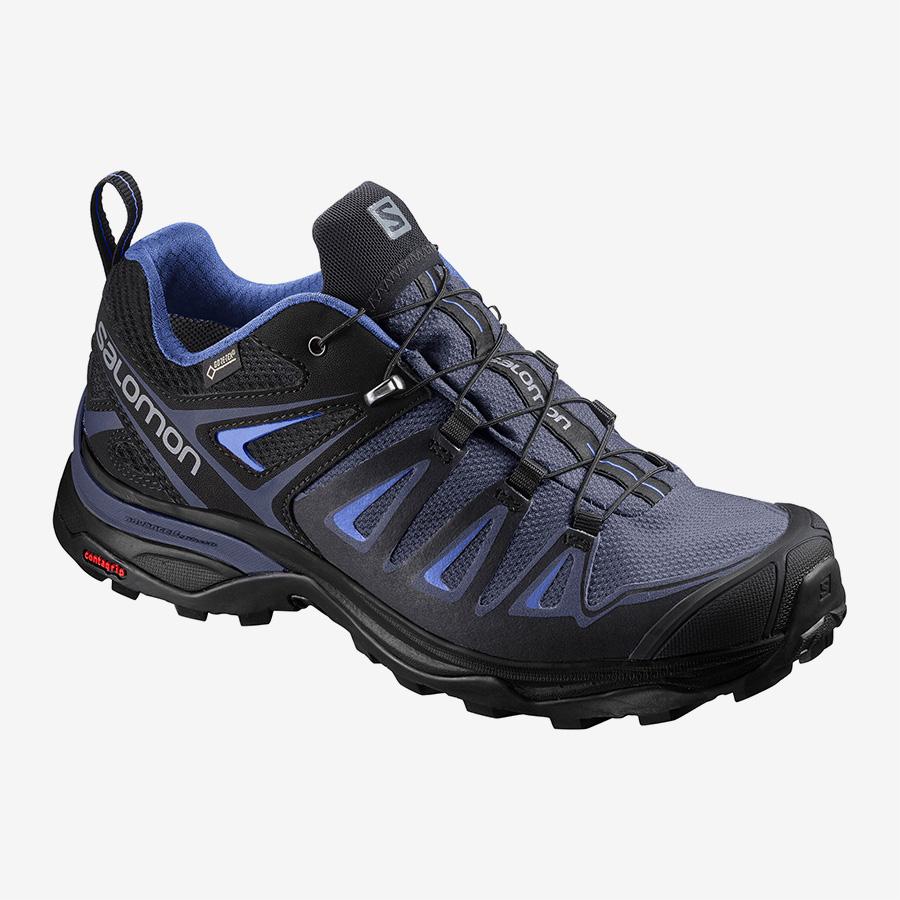 Dámské modré černé tenisky Salomon X Ultra 3 GTX W Crown Blue/India Ink/Amparo Blue 400027 turistické outdoorové boty a obuv Salomon