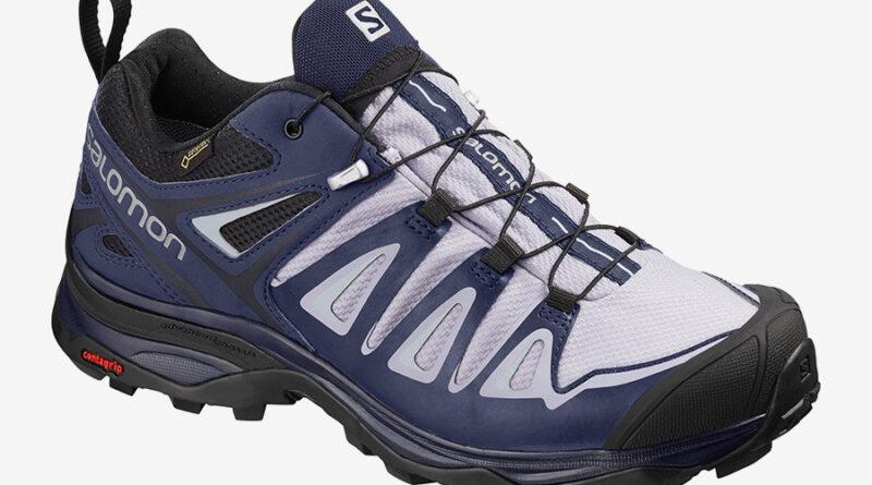 Dámské modré bílé tenisky Salomon X Ultra 3 GTX W Languid Lavender/Crown Blue/Navy Blazer 406761 turistické outdoorové boty a obuv Salomon