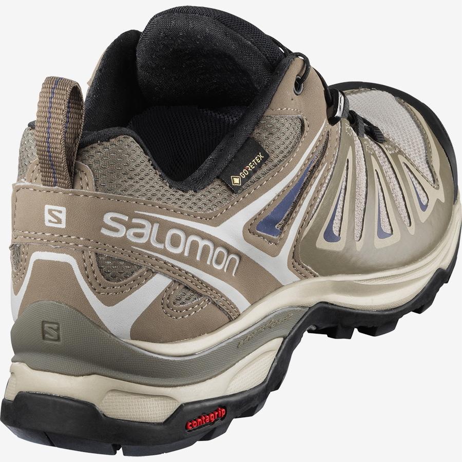 Dámské krémové béžové tenisky Salomon X Ultra 3 GTX W Vintage Kaki/Bungee Cord/Crown Blue 408146 turistické outdoorové boty a obuv Salomon