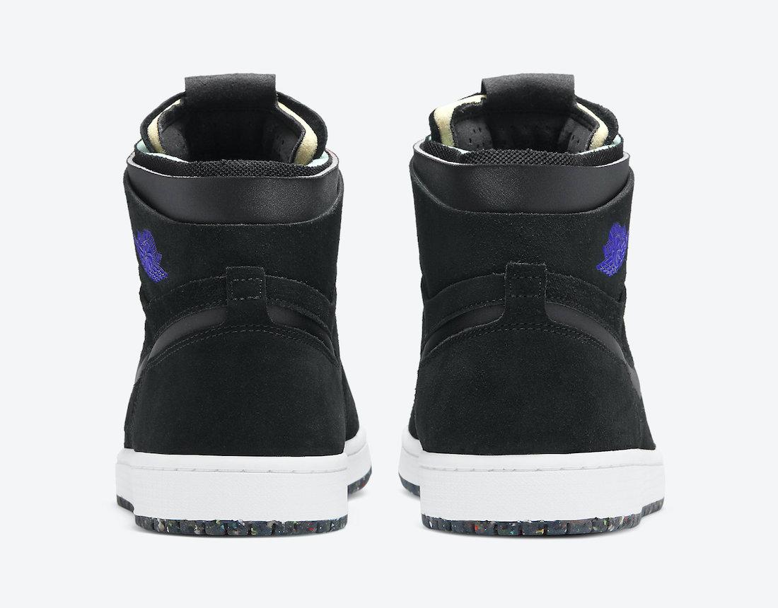 Pánské černé tenisky Air Jordan 1 High Zoom Black/Court Purple-Hot Punch-Green Glow CT0978-005 semišové kotníkové boty a obuv Jordan