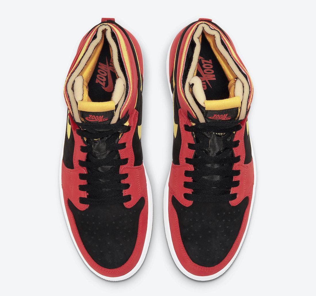 Pánské červené černé tenisky Air Jordan 1 Zoom Comfort Black/Chile Red-White-University Gold CT0978-006 semišové kotníkové boty a obuv Jordan
