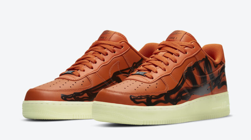 Pánské oranžové tenisky a botasky Nike Air Force 1 Skeleton Brilliant Orange/Black-Brilliant Orange CU8067-800 kožené boty a obuv Nike AF1