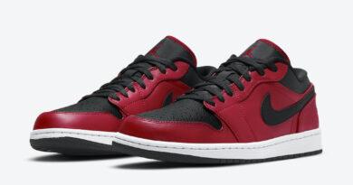 Pánské červené černé tenisky Air Jordan 1 Low Gym Red/Black-White 553558-605 kožené nízké boty a obuv Jordan