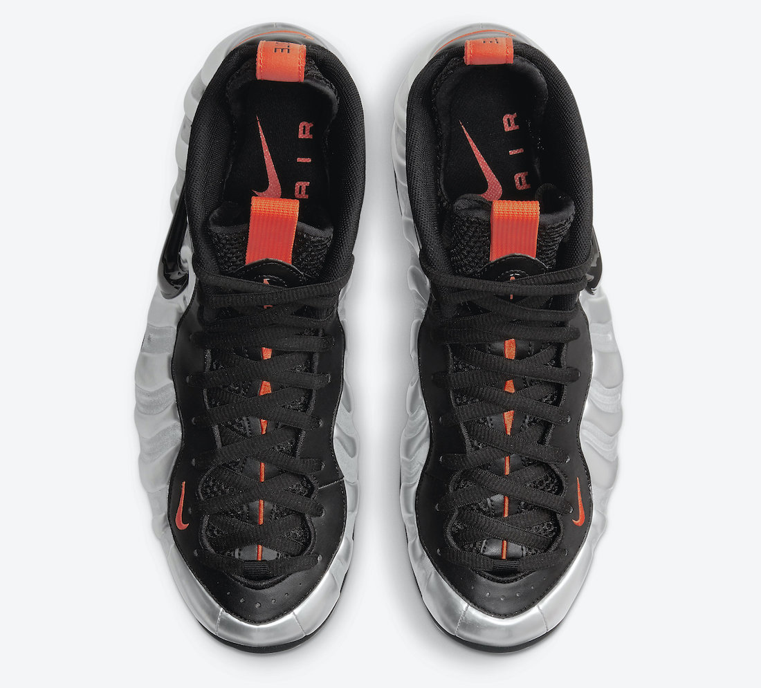 Pánské stříbrné černé tenisky Nike Air Foamposite Pro Flat Silver/Black-Electro Orange CT2286-001 kotníkové boty a obuv Nike