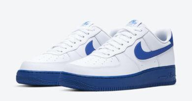 Pánské bílé modré tenisky a botasky Nike Air Force 1 Low White/Royal Blue CK7663-103 nízké kožené boty a obuv Nike AF1