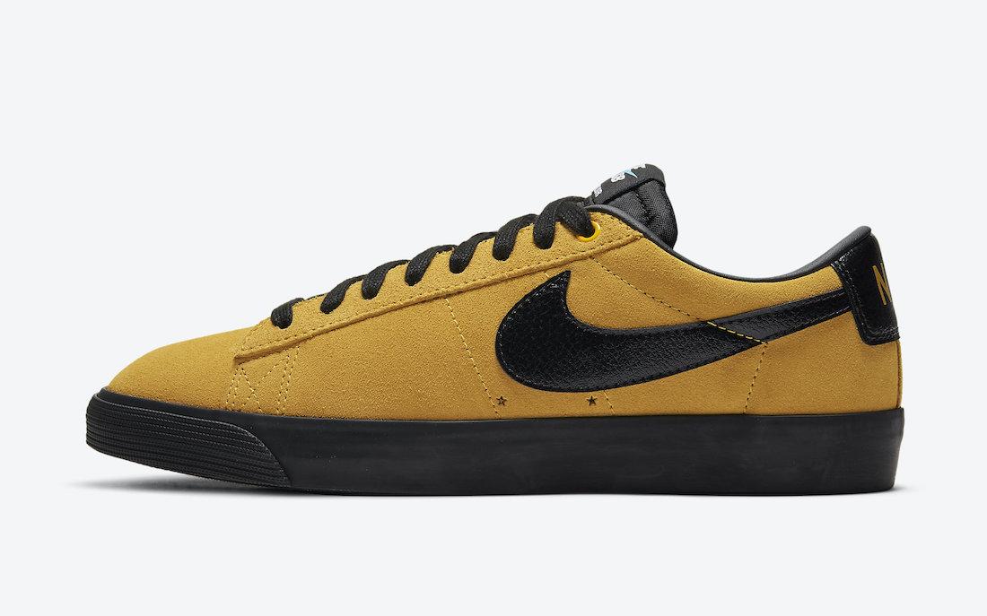 Pánské zlaté černé tenisky a boty Nike SB Blazer Low GT University Gold/Black 704939-700 nízké skate botasky a obuv Nike