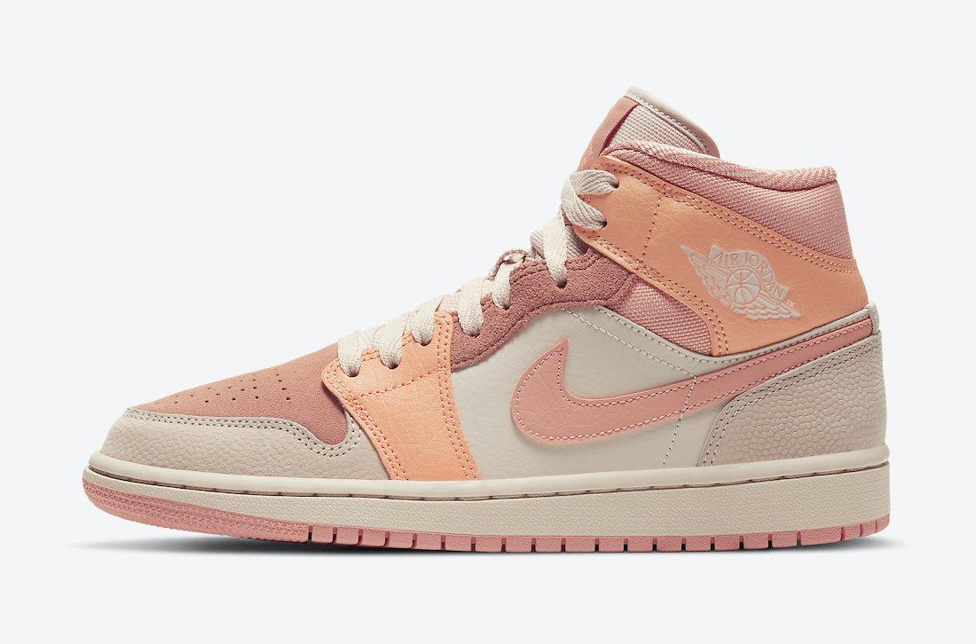 Dámské růžové a krémové tenisky Air Jordan 1 Mid Atomic Orange/Apricot Agate-Terra Blush DH4270-800 kotníkové boty a obuv Jordan