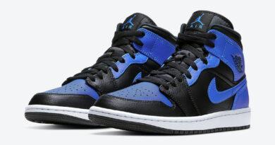 Pánské černé a modré tenisky Air Jordan 1 Mid Black/Hyper Royal-White 554724-077 kožené a vysoké kotníkové boty a obuv Jordan